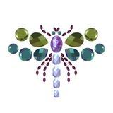 La libellula del diamante, animale dei gioielli, ha isolato il vettore di insetto Fotografia Stock
