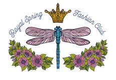 La libellule, papillon, ressort, couronne d'abeille de roses fleurit la broderie Image stock