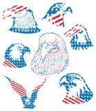 La liberté américaine a isolé l'ensemble d'Eagle Flag Bald Logo Object Illustration Libre de Droits