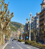 La Libertad Avenue de Avenida de em San Sebastian País Basque, Guipuzcoa spain Imagens de Stock Royalty Free