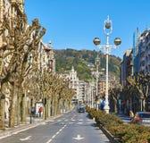 La Libertad Avenue de Avenida de em San Sebastian País Basque, Guipuzcoa spain Fotografia de Stock Royalty Free
