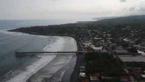 La Libertad El Salvador Aerial Video 2. La Libertad El Salvador Aerial Video with more views of the pier and punta roca stock video