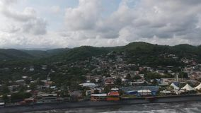 La Libertad El Salvador Aerial Video. With views of the pier and the surrounding area stock video