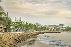 La Libertad Malecon, Ecuador. Tropical urban scene at malecon in La Libertad, a coastal city located in Ecuador, South America Stock Images
