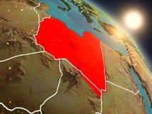 La Libia da spazio durante l'alba Immagine Stock Libera da Diritti