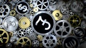 La libra giratoria firma adentro la unidad del engranaje con la diversa muestra de moneda libre illustration
