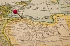 La Libye et le Tripoli sur la carte de cru Photos libres de droits