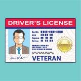 La licencia de conductor de los veteranos ilustración del vector