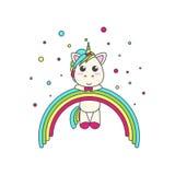 La licorne a accroché sur l'arc-en-ciel, autour des confettis illustration stock