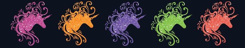 La licorne magique d'image de licorne de silhouette de tête de licorne d'illustration de licorne de scintillement décrit la licor Images stock