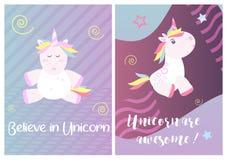 La licorne mignonne carde le vecteur magique de bébé Image libre de droits