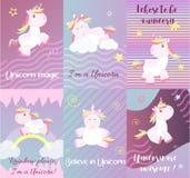La licorne mignonne carde le vecteur magique de bébé Images stock
