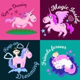 La licorne mignonne a isolé l'ensemble, le vol magique de Pegasus avec l'aile et le klaxon sur l'arc-en-ciel, illustration de vec Image libre de droits