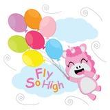 La licorne mignonne vole avec la bande dessinée de vecteur de ballons, la carte postale d'enfant, le papier peint, et la carte de Photo stock