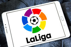 La liga, spanish league logo. Logo of La liga, spanish league on samsung tablet royalty free stock photo