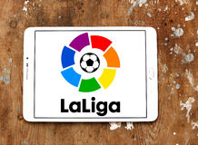 La liga, spanish league logo. Logo of La liga, spanish league on samsung tablet on wooden background royalty free stock images