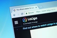 La liga , spanish league website. On computer screen royalty free stock image