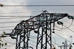 La ligne électrique à haute tension Photo libre de droits