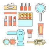 La ligne épaisse maquillage usine le concept moderne d'illustration Photo stock