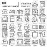 La ligne d'appareil ménager A SIGNÉ l'ensemble d'icône, symboles collection, croquis de vecteur, illustrations de ménage de logo, illustration de vecteur