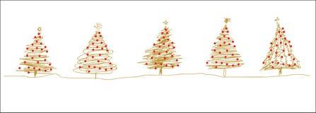 La ligne d'arbre rouge de Noël d'or esquisse dans une rangée illustration de vecteur