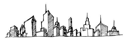 La ligne d'illustration de vecteur de paysage urbain a esquissé vers le haut d'EPS10 Image stock