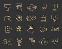 La ligne d'opérations bancaires de budget commercial signes, icônes financières et paiement décrivent des symboles Photos libres de droits