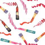 La ligne de dessin de rouge à lèvres, composent le modèle sans couture de collection sur le fond blanc illustration libre de droits