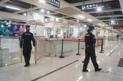 La ligne 11 de métro de Shenzhen s'est ouverte, paysage d'intérieur de station de métro blême de bihai de Xixiang Images stock