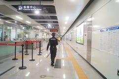 La ligne 11 de métro de Shenzhen s'est ouverte, paysage d'intérieur de station de métro blême de bihai de Xixiang Photos stock