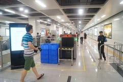 La ligne 11 de métro de Shenzhen s'est ouverte, paysage d'intérieur de station de métro blême de bihai de Xixiang Image libre de droits