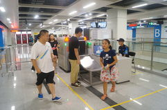 La ligne 11 de métro de Shenzhen s'est ouverte, paysage d'intérieur de station de métro blême de bihai de Xixiang Images libres de droits