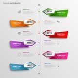 La ligne de temps graphique d'infos avec le résumé a coloré des indicateurs Photographie stock libre de droits