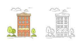 La ligne de ville illustration de vecteur de maison de vintage a placé avec l'immeuble multi d'étage avec des arbres et des nuage illustration stock