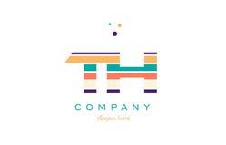 la ligne du Th t h barre le templ d'icône de logo de lettre d'alphabet de couleur en pastel Photos libres de droits