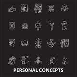 La ligne editable icônes de concepts personnels dirigent l'ensemble sur le fond noir Illustrations blanches d'ensemble de concept illustration de vecteur