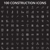 La ligne editable icônes de construction dirigent l'ensemble sur le fond noir Illustrations blanches d'ensemble de construction,  illustration libre de droits
