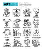 La ligne editable moderne icônes de vecteur a placé du projet de démarrage, affaires illustration stock