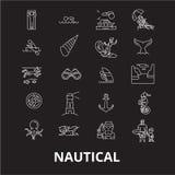La ligne editable nautique icônes dirigent l'ensemble sur le fond noir Illustrations blanches nautiques d'ensemble, signes, symbo illustration de vecteur