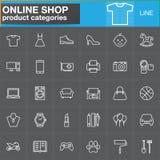 La ligne en ligne icônes de catégories de produit d'achats a placé, décrit le vecteur Photos stock