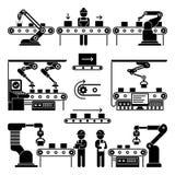 La ligne et les travailleurs de fabrication de production de convoyeur dirigent des icônes illustration libre de droits