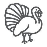 La ligne icône d'oiseau de la Turquie, l'animal et la ferme, volaille signent, les graphiques de vecteur, un modèle linéaire sur  illustration de vecteur