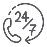 La ligne 7 icône, service et aide de l'appel 24, soutiennent 24 7 signes, les graphiques de vecteur, un modèle linéaire sur un fo illustration de vecteur