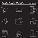 La ligne icônes d'achats a placé, collection de symbole de vecteur d'ensemble, linea Photos libres de droits
