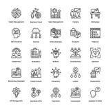 La ligne icônes de gestion des projets de vecteur a placé 17 illustration de vecteur