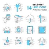La ligne icônes de protection et sécurité a placé pour le Web et la conception mobile Photographie stock