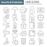 La ligne icônes de protection et sécurité a placé pour le Web et la conception mobile Image stock