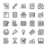 La ligne icônes de rédaction publicitaire emballent illustration stock