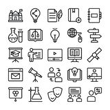 La ligne icônes de la Science et d'éducation emballent illustration stock