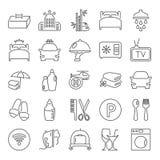 La ligne icônes de service hôtelier a placé pour le Web et la conception mobile Photos libres de droits